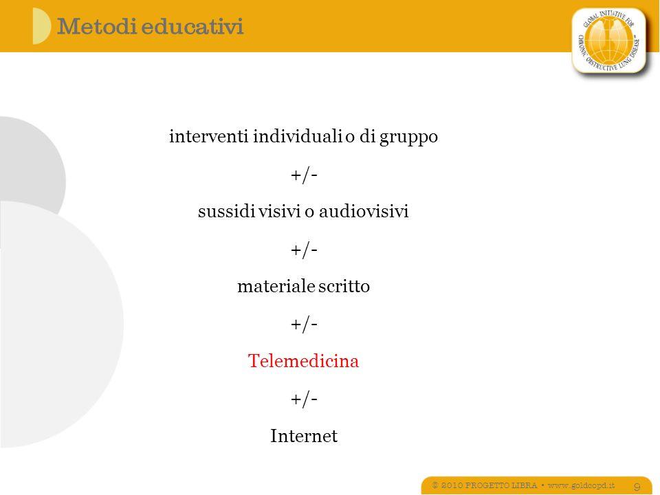 Metodi educativi © 2010 PROGETTO LIBRA www.goldcopd.it 9 interventi individuali o di gruppo +/- sussidi visivi o audiovisivi +/- materiale scritto +/- Telemedicina +/- Internet