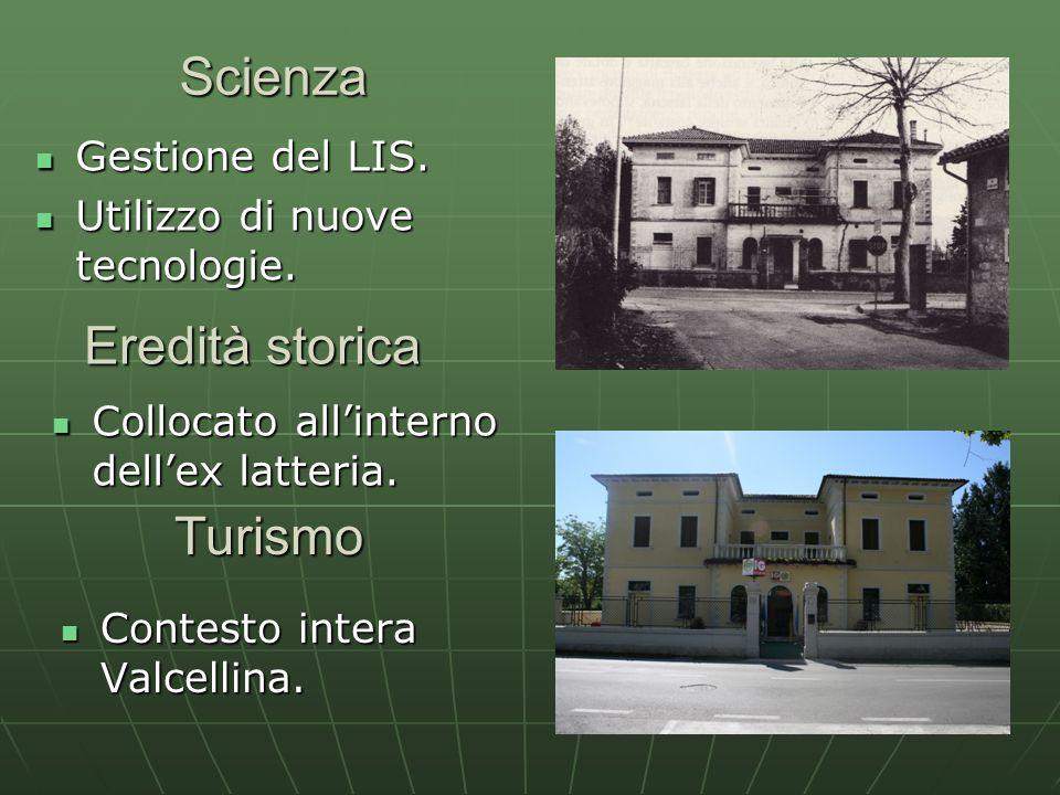 Scienza Gestione del LIS. Gestione del LIS. Utilizzo di nuove tecnologie. Utilizzo di nuove tecnologie. Eredità storica Collocato allinterno dellex la