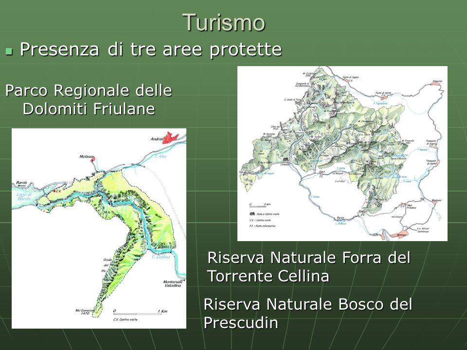 Turismo Parco Regionale delle Dolomiti Friulane Riserva Naturale Forra del Torrente Cellina Riserva Naturale Bosco del Prescudin Presenza di tre aree