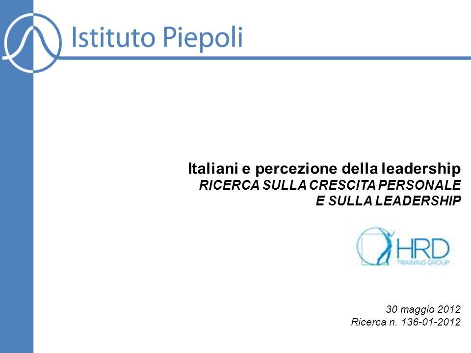 Italiani e percezione della leadership RICERCA SULLA CRESCITA PERSONALE E SULLA LEADERSHIP 30 maggio 2012 Ricerca n. 136-01-2012