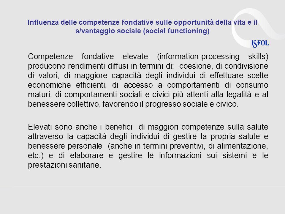 Influenza delle competenze fondative sulle opportunità della vita e il s/vantaggio sociale (social functioning) Competenze fondative elevate (informat