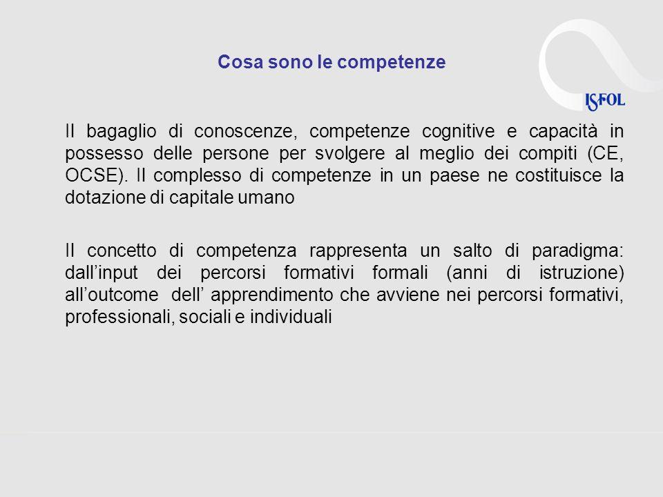 Cosa sono le competenze Il bagaglio di conoscenze, competenze cognitive e capacità in possesso delle persone per svolgere al meglio dei compiti (CE, OCSE).