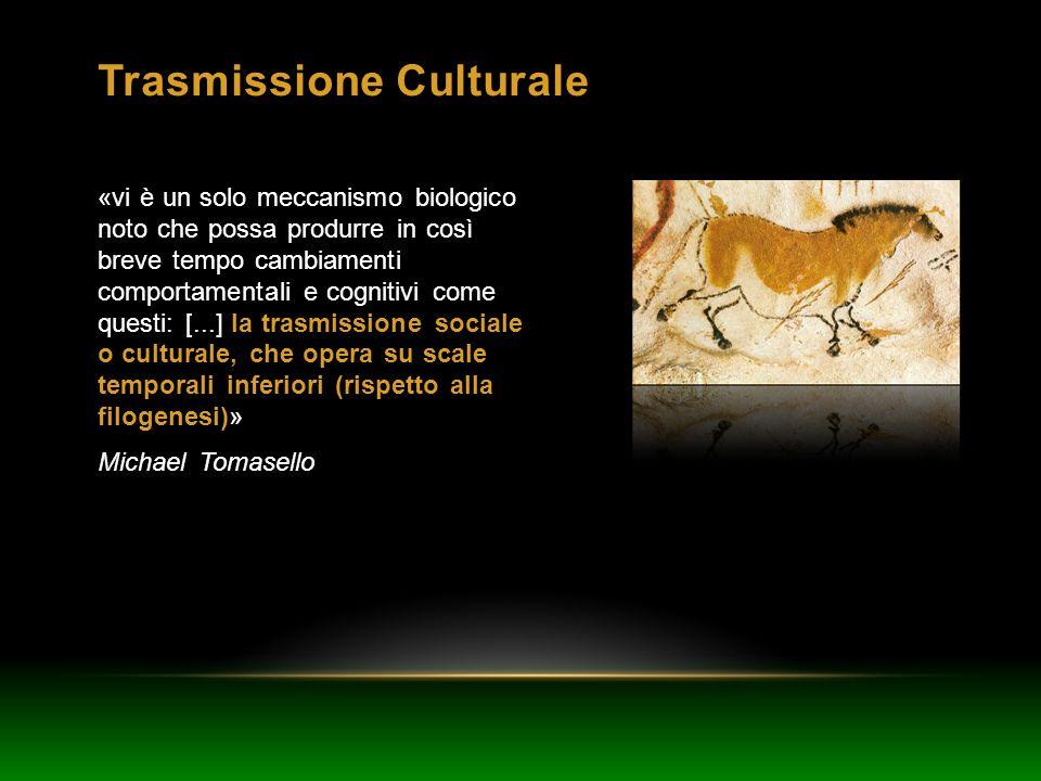 Trasmissione Culturale «vi è un solo meccanismo biologico noto che possa produrre in così breve tempo cambiamenti comportamentali e cognitivi come que
