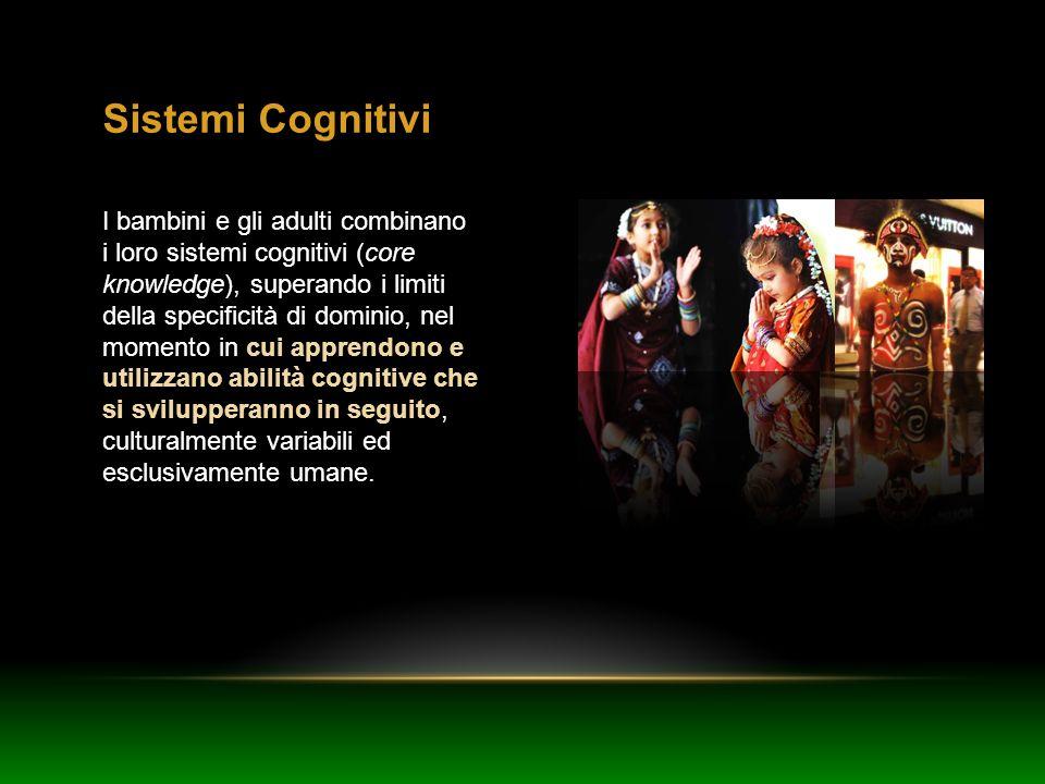 Sistemi Cognitivi I bambini e gli adulti combinano i loro sistemi cognitivi (core knowledge), superando i limiti della specificità di dominio, nel mom