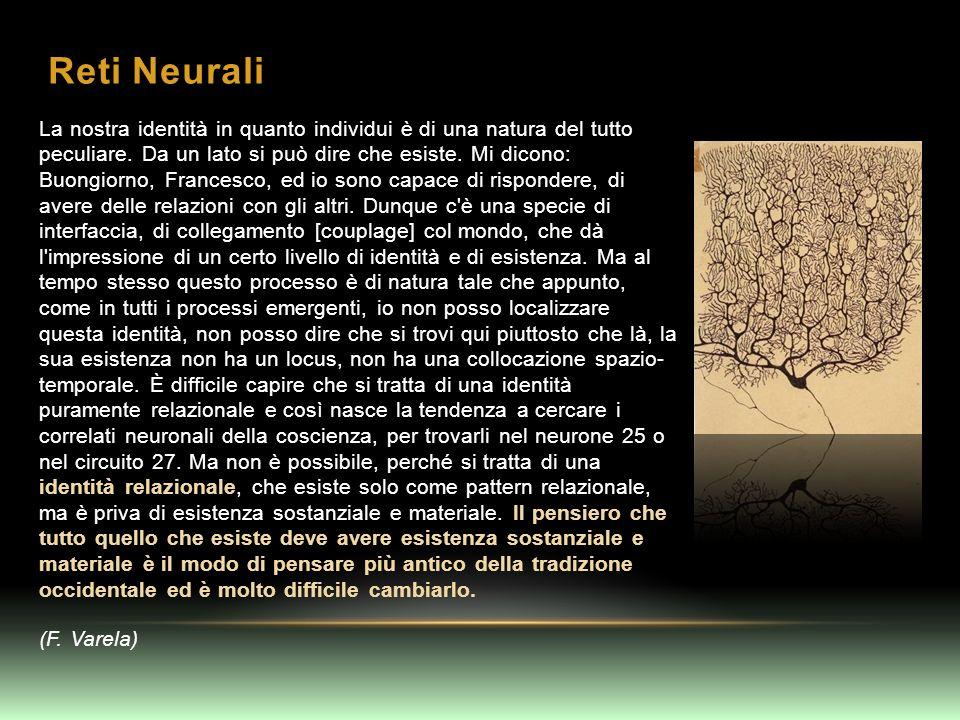 Reti Neurali La nostra identità in quanto individui è di una natura del tutto peculiare. Da un lato si può dire che esiste. Mi dicono: Buongiorno, Fra