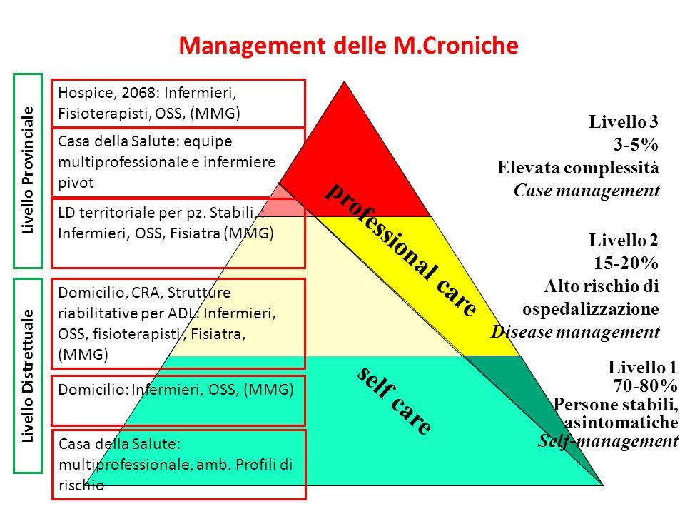 Casa della Salute: equipe multiprofessionale e infermiere pivot Management delle M.Croniche professional care self care Livello 3 3-5% Elevata comples