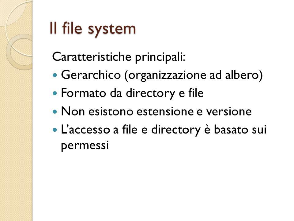 Il file system Caratteristiche principali: Gerarchico (organizzazione ad albero) Formato da directory e file Non esistono estensione e versione Laccesso a file e directory è basato sui permessi
