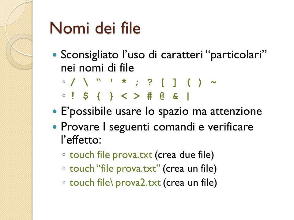 Nomi dei file Sconsigliato luso di caratteri particolari nei nomi di file / \ * ; .