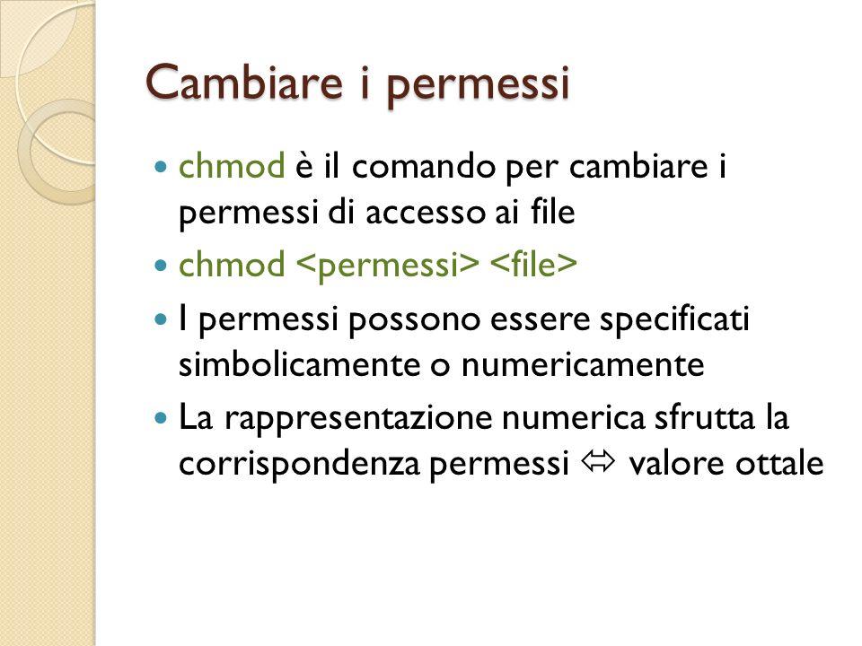 Cambiare i permessi chmod è il comando per cambiare i permessi di accesso ai file chmod I permessi possono essere specificati simbolicamente o numericamente La rappresentazione numerica sfrutta la corrispondenza permessi valore ottale