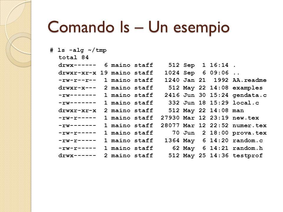 Comando ls – Un esempio # ls -alg ~/tmp total 84 drwx------ 6 maino staff 512 Sep 1 16:14.