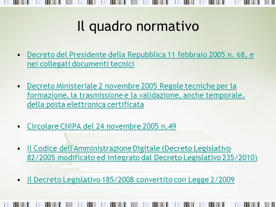 Il quadro normativo Decreto del Presidente della Repubblica 11 febbraio 2005 n. 68, e nei collegati documenti tecniciDecreto del Presidente della Repu