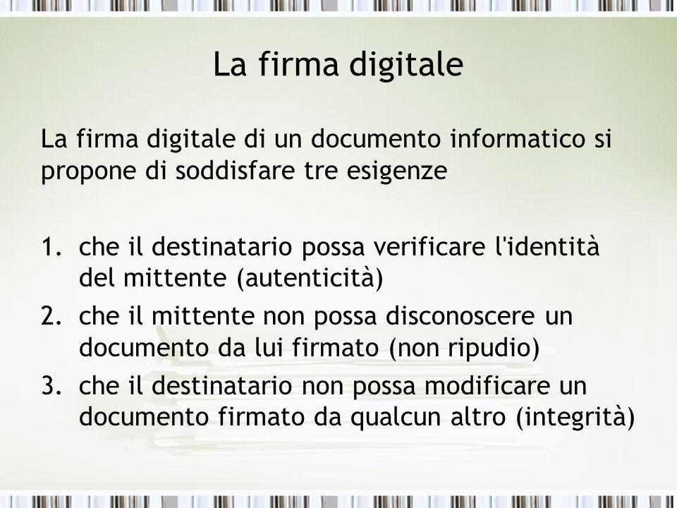 La firma digitale La firma digitale di un documento informatico si propone di soddisfare tre esigenze 1.che il destinatario possa verificare l'identit