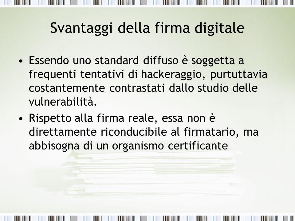 Svantaggi della firma digitale Essendo uno standard diffuso è soggetta a frequenti tentativi di hackeraggio, purtuttavia costantemente contrastati dallo studio delle vulnerabilità.