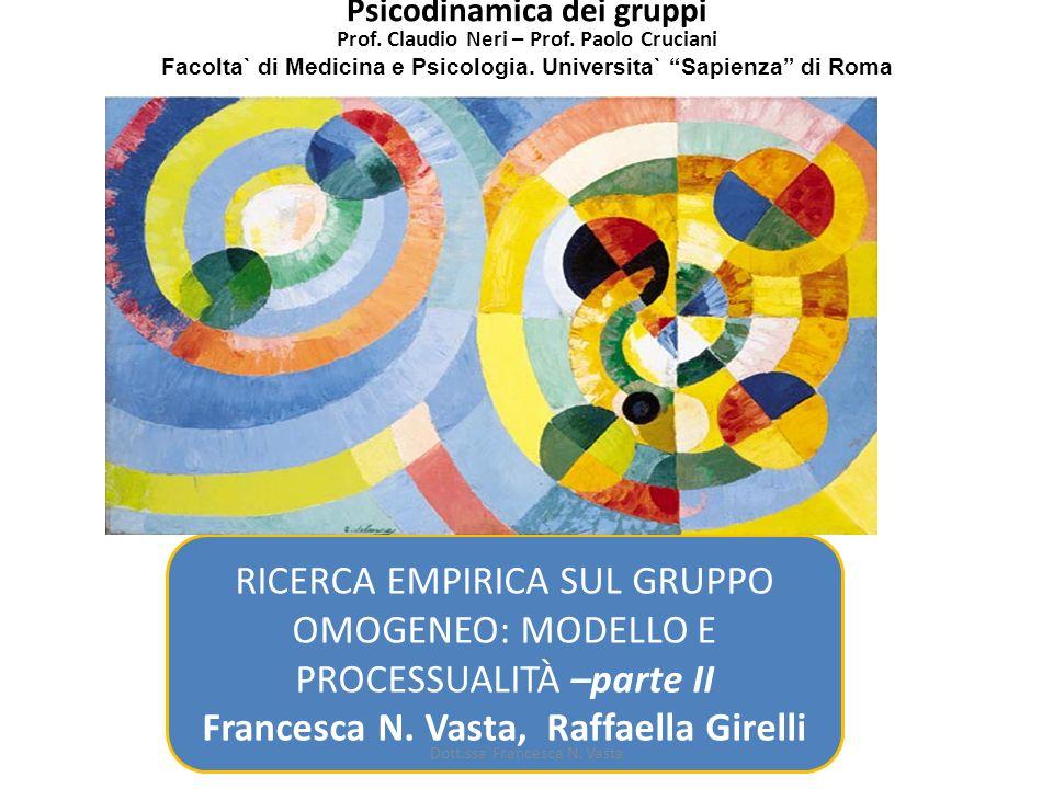 RICERCA EMPIRICA SUL GRUPPO OMOGENEO: MODELLO E PROCESSUALITÀ –parte II Francesca N. Vasta, Raffaella Girelli Psicodinamica dei gruppi Prof. Claudio N