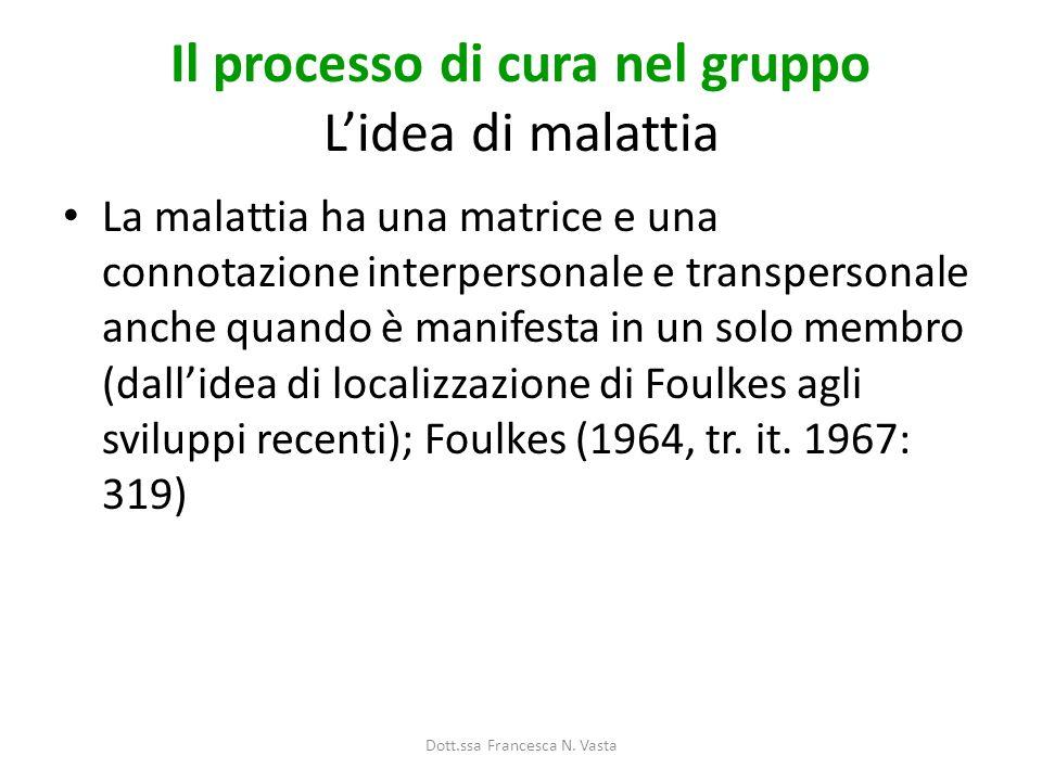 Il processo di cura nel gruppo Lidea di malattia La malattia ha una matrice e una connotazione interpersonale e transpersonale anche quando è manifesta in un solo membro (dallidea di localizzazione di Foulkes agli sviluppi recenti); Foulkes (1964, tr.