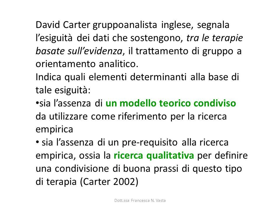 David Carter gruppoanalista inglese, segnala lesiguità dei dati che sostengono, tra le terapie basate sullevidenza, il trattamento di gruppo a orientamento analitico.