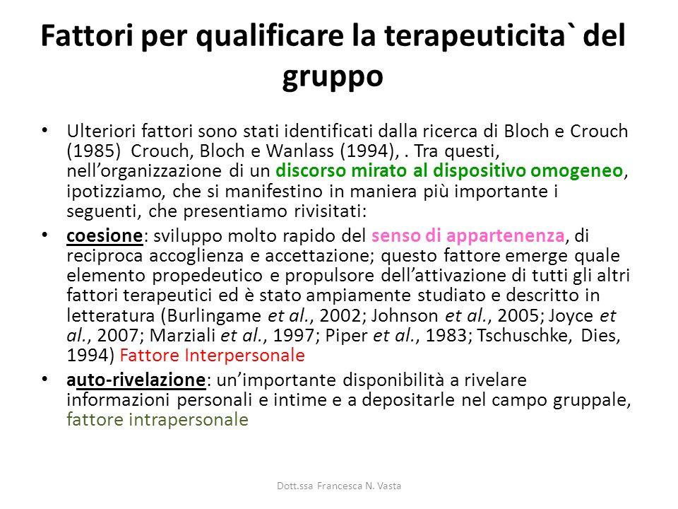 Fattori per qualificare la terapeuticita` del gruppo Ulteriori fattori sono stati identificati dalla ricerca di Bloch e Crouch (1985) Crouch, Bloch e