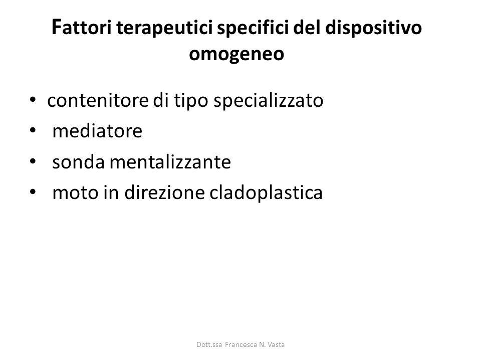 F attori terapeutici specifici del dispositivo omogeneo contenitore di tipo specializzato mediatore sonda mentalizzante moto in direzione cladoplastica Dott.ssa Francesca N.