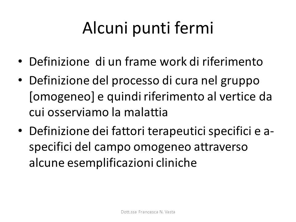 Alcuni punti fermi Definizione di un frame work di riferimento Definizione del processo di cura nel gruppo [omogeneo] e quindi riferimento al vertice