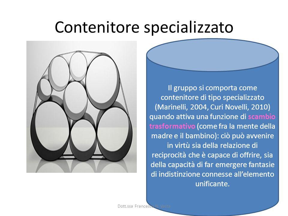 Contenitore specializzato Il gruppo si comporta come contenitore di tipo specializzato (Marinelli, 2004, Curi Novelli, 2010) quando attiva una funzion
