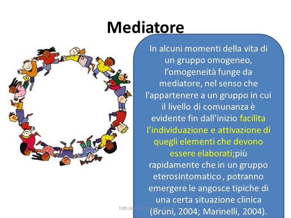 Mediatore In alcuni momenti della vita di un gruppo omogeneo, lomogeneità funge da mediatore, nel senso che lappartenere a un gruppo in cui il livello