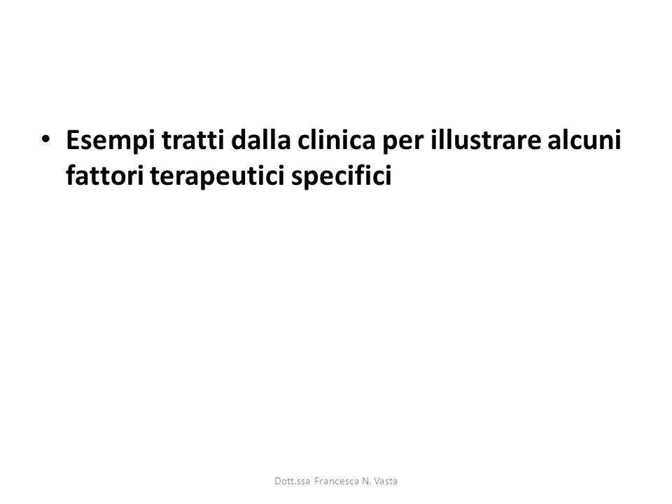Esempi tratti dalla clinica per illustrare alcuni fattori terapeutici specifici Dott.ssa Francesca N. Vasta