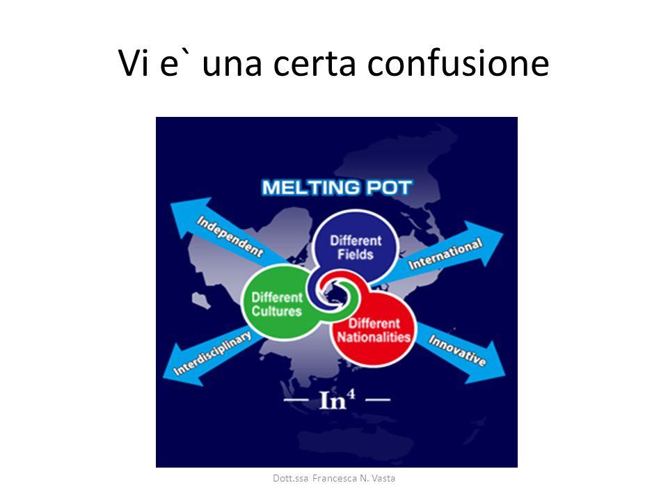 Vi e` una certa confusione Dott.ssa Francesca N. Vasta