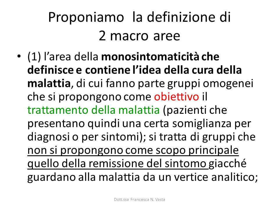 Proponiamo la definizione di 2 macro aree (1) larea della monosintomaticità che definisce e contiene lidea della cura della malattia, di cui fanno par