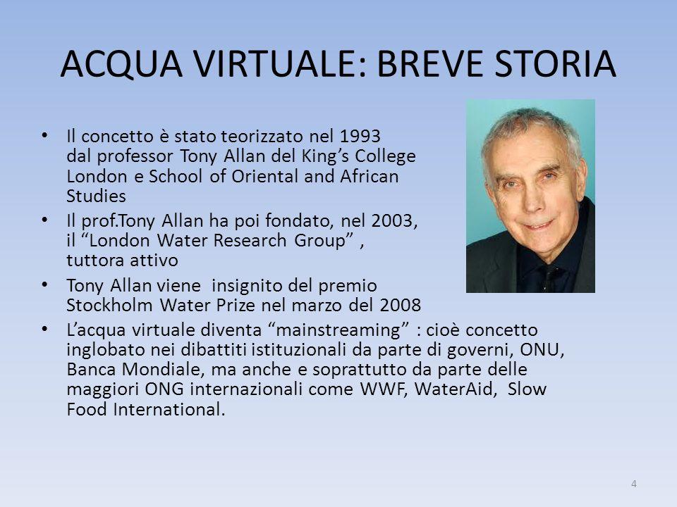 ACQUA VIRTUALE: BREVE STORIA Il concetto è stato teorizzato nel 1993 dal professor Tony Allan del Kings College London e School of Oriental and Africa