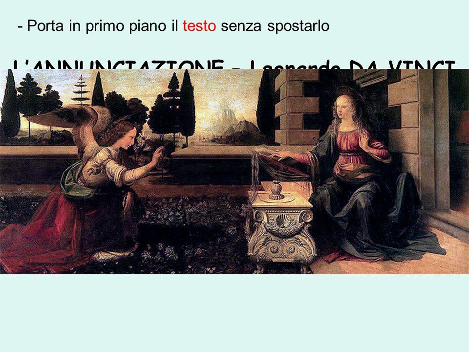 LANNUNCIAZIONE – Leonardo DA VINCI - Porta in primo piano il testo senza spostarlo