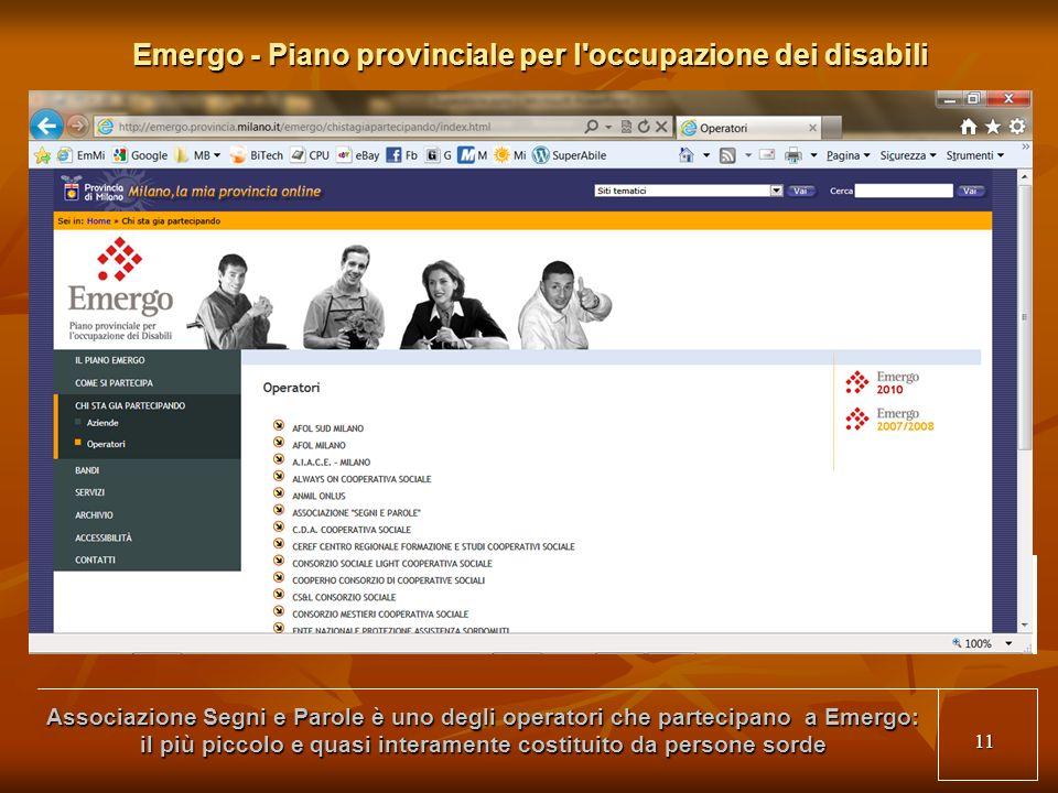 11 Emergo - Piano provinciale per l occupazione dei disabili Associazione Segni e Parole è uno degli operatori che partecipano a Emergo: il più piccolo e quasi interamente costituito da persone sorde