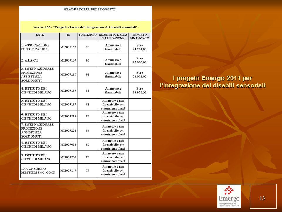 13 I progetti Emergo 2011 per lintegrazione dei disabili sensoriali