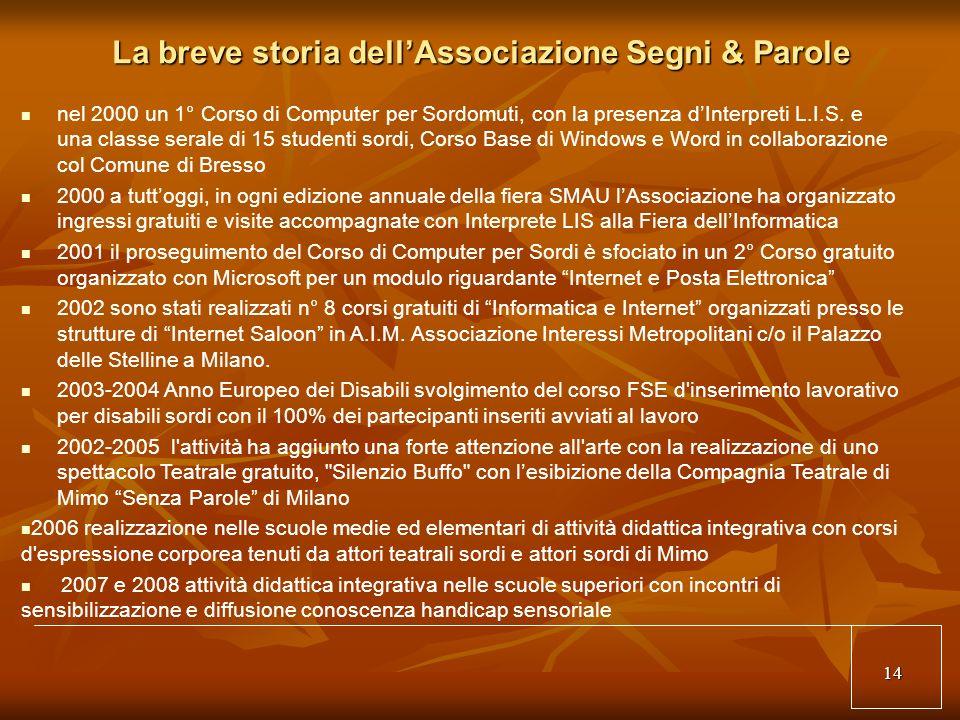 14 La breve storia dellAssociazione Segni & Parole nel 2000 un 1° Corso di Computer per Sordomuti, con la presenza dInterpreti L.I.S.