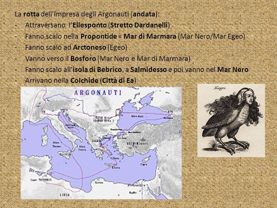 La rotta dellimpresa degli Argonauti (andata): -Attraversano lEllesponto (Stretto Dardanelli) -Fanno scalo nella Propontide = Mar di Marmara (Mar Nero/Mar Egeo) -Fanno scalo ad Arctoneso (Egeo) -Vanno verso il Bosforo (Mar Nero e Mar di Marmara) -Fanno scalo allisola di Bebrico, a Salmidesso e poi vanno nel Mar Nero -Arrivano nella Colchide (Città di Ea)