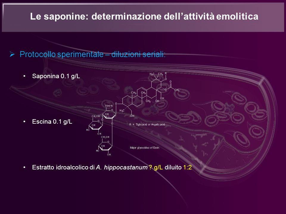 Protocollo sperimentale – diluzioni seriali: Saponina 0.1 g/L Escina 0.1 g/L Estratto idroalcolico di A. hippocastanum ? g/L diluito 1:2 Le saponine: