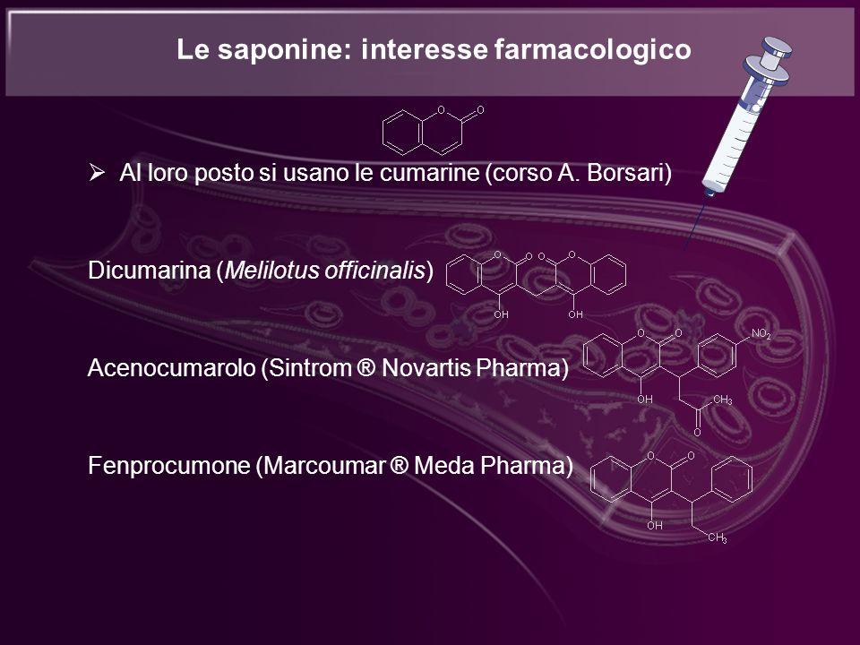 Le saponine: interesse farmacologico Al loro posto si usano le cumarine (corso A. Borsari) Dicumarina (Melilotus officinalis) Acenocumarolo (Sintrom ®
