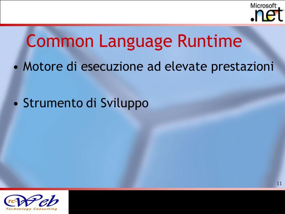 11 Common Language Runtime Motore di esecuzione ad elevate prestazioni Strumento di Sviluppo