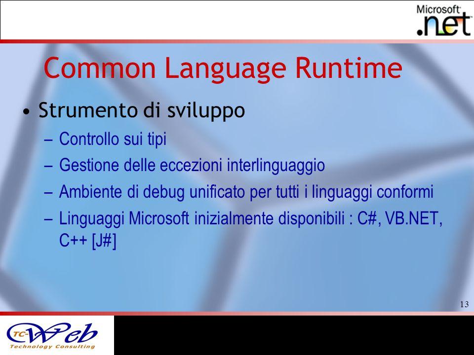 13 Common Language Runtime Strumento di sviluppo –Controllo sui tipi –Gestione delle eccezioni interlinguaggio –Ambiente di debug unificato per tutti i linguaggi conformi –Linguaggi Microsoft inizialmente disponibili : C#, VB.NET, C++ [J#]