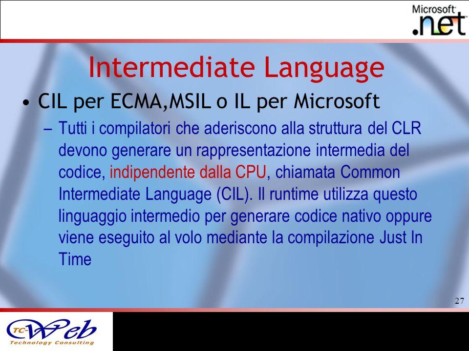 27 Intermediate Language CIL per ECMA,MSIL o IL per Microsoft –Tutti i compilatori che aderiscono alla struttura del CLR devono generare un rappresentazione intermedia del codice, indipendente dalla CPU, chiamata Common Intermediate Language (CIL).