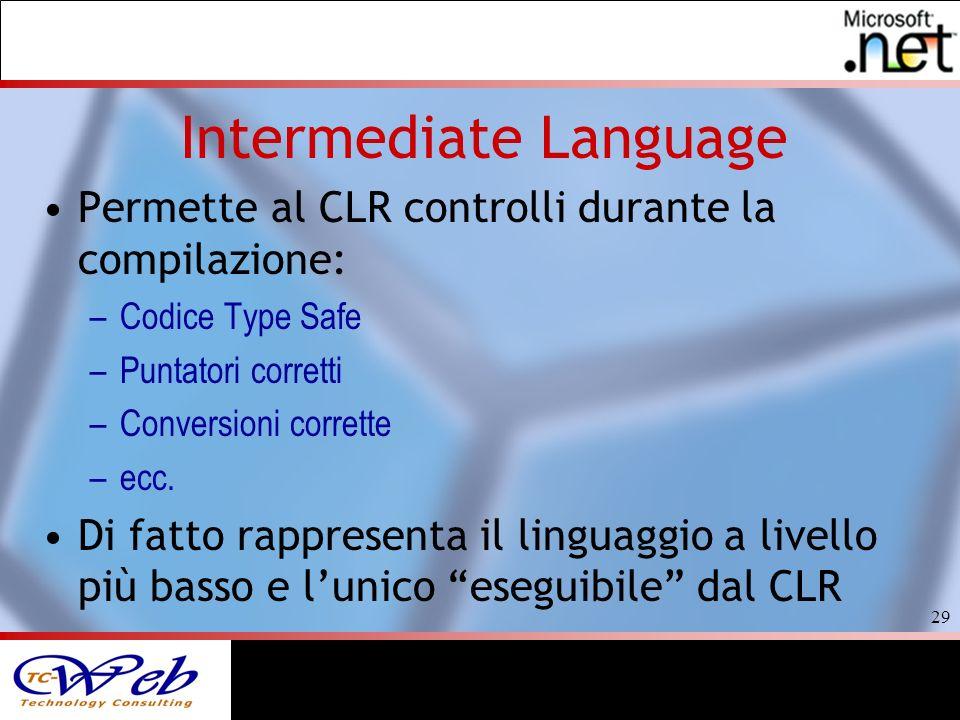 29 Intermediate Language Permette al CLR controlli durante la compilazione: –Codice Type Safe –Puntatori corretti –Conversioni corrette –ecc.