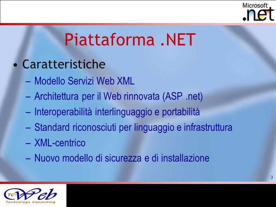 3 Piattaforma.NET Caratteristiche –Modello Servizi Web XML –Architettura per il Web rinnovata (ASP.net) –Interoperabilità interlinguaggio e portabilità –Standard riconosciuti per linguaggio e infrastruttura –XML-centrico –Nuovo modello di sicurezza e di installazione