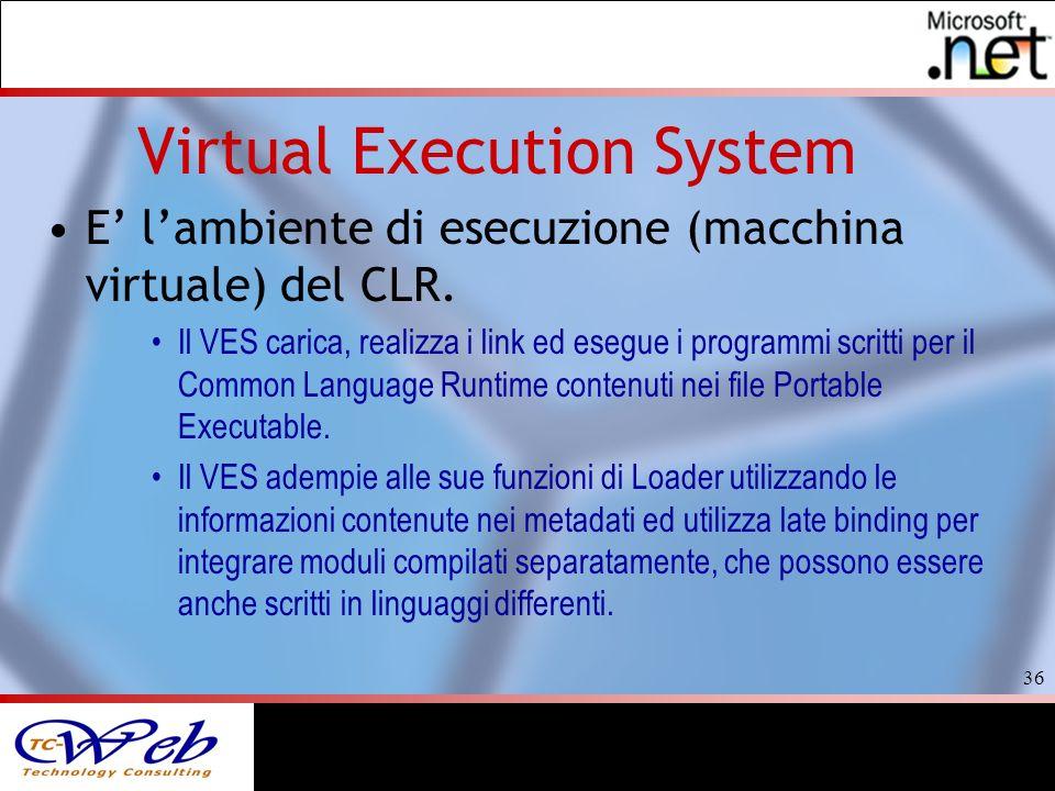 36 Virtual Execution System E lambiente di esecuzione (macchina virtuale) del CLR.