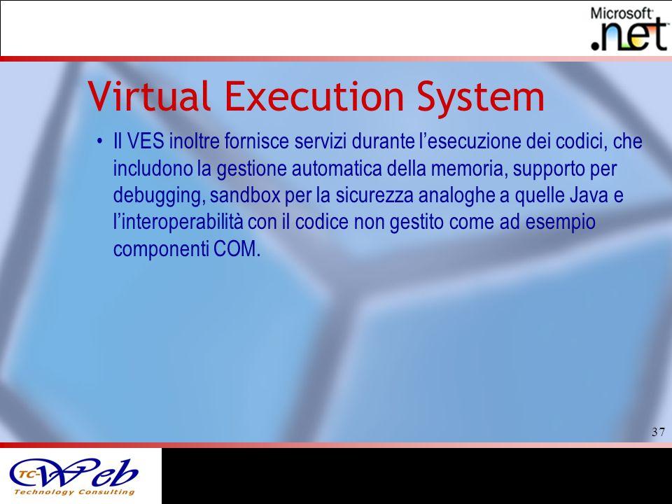 37 Virtual Execution System Il VES inoltre fornisce servizi durante lesecuzione dei codici, che includono la gestione automatica della memoria, supporto per debugging, sandbox per la sicurezza analoghe a quelle Java e linteroperabilità con il codice non gestito come ad esempio componenti COM.