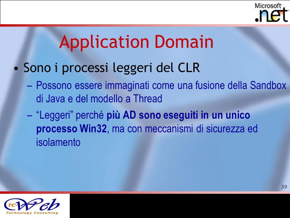 39 Application Domain Sono i processi leggeri del CLR –Possono essere immaginati come una fusione della Sandbox di Java e del modello a Thread –Leggeri perché più AD sono eseguiti in un unico processo Win32, ma con meccanismi di sicurezza ed isolamento