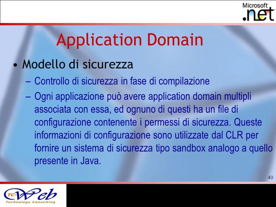 40 Application Domain Modello di sicurezza –Controllo di sicurezza in fase di compilazione –Ogni applicazione può avere application domain multipli associata con essa, ed ognuno di questi ha un file di configurazione contenente i permessi di sicurezza.
