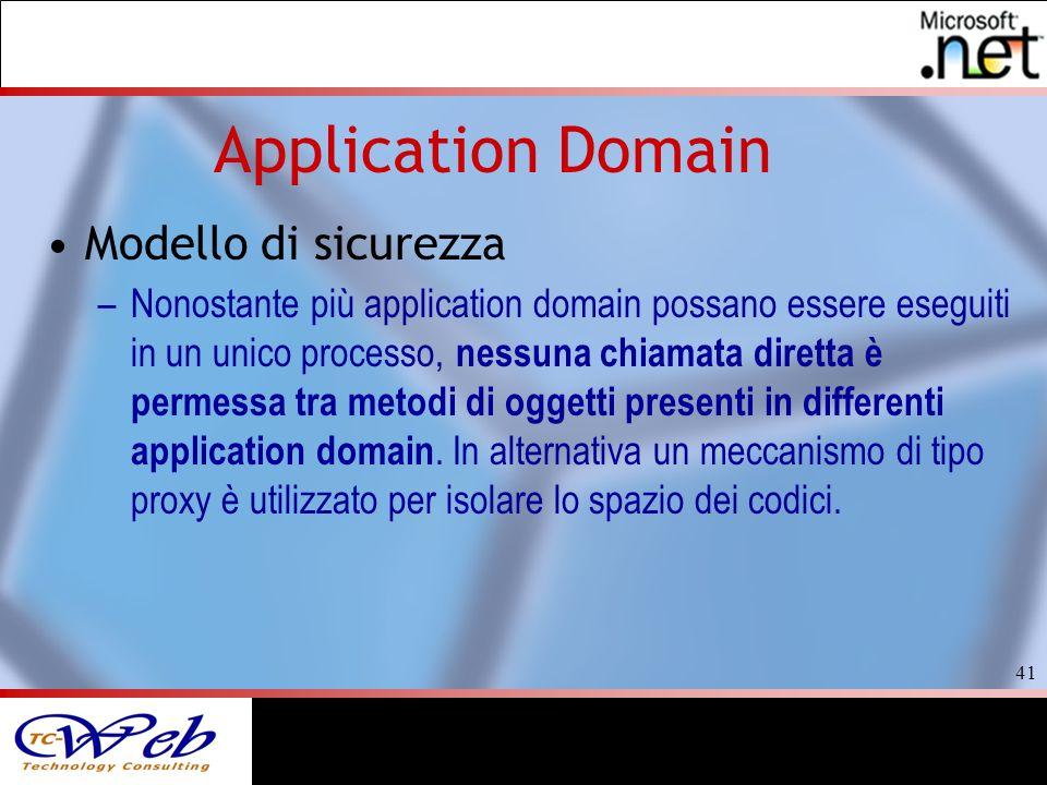 41 Application Domain Modello di sicurezza –Nonostante più application domain possano essere eseguiti in un unico processo, nessuna chiamata diretta è permessa tra metodi di oggetti presenti in differenti application domain.
