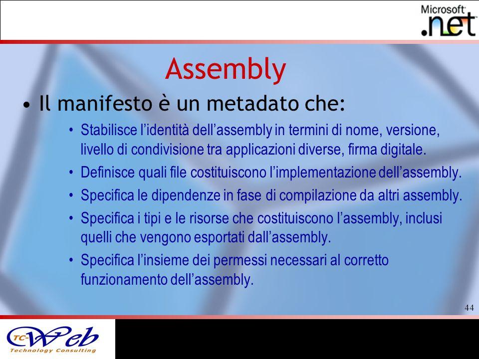 44 Assembly Il manifesto è un metadato che: Stabilisce lidentità dellassembly in termini di nome, versione, livello di condivisione tra applicazioni diverse, firma digitale.