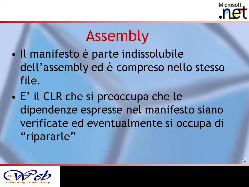 45 Assembly Il manifesto è parte indissolubile dellassembly ed è compreso nello stesso file.