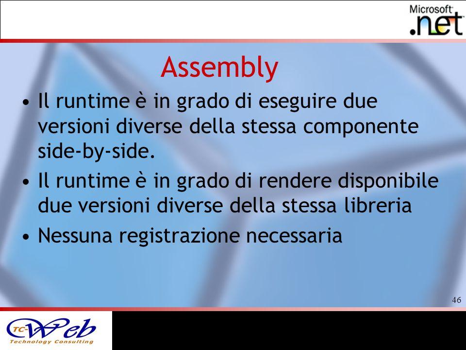 46 Assembly Il runtime è in grado di eseguire due versioni diverse della stessa componente side-by-side.