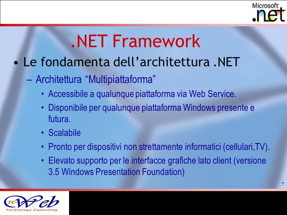 7.NET Framework Le fondamenta dellarchitettura.NET –Architettura Multipiattaforma Accessibile a qualunque piattaforma via Web Service.